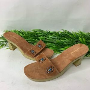Bamboo Womens Sz 11 Tan Suede Beaded Slide Sandals